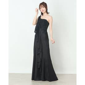 レース&ジョーゼットロングドレス (ブラック)