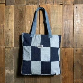 recycleデニム ファスナートートバッグ (ブルー系)
