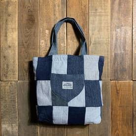 recycleデニム ポケットトートバッグ (ブルー系)