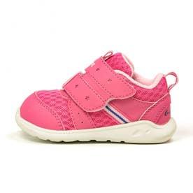 スニーカー ベビー 速乾 洗濯機で洗える 子供靴 マジックテープ ベルクロ CR B127 星柄 洗えるインソール (ピンク)