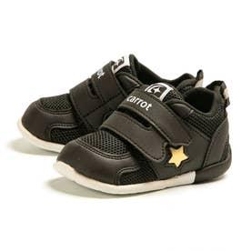 スニーカー ベビー 速乾 子供靴 幅広 3E ダブルベルト マジックテープ CRB 120 星柄 (ブラック)