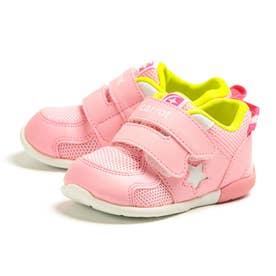 スニーカー ベビー 速乾 子供靴 幅広 3E ダブルベルト マジックテープ CRB 120 星柄 (ピンク)