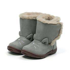 ベビー キッズ 女の子 子供 ムーンスター moonstar ブーツ ネコ もこもこブーツ かわいい CR B132 (グレー)
