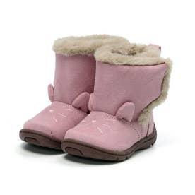 ベビー キッズ 女の子 子供 ムーンスター moonstar ブーツ ネコ もこもこブーツ かわいい CR B132 (ピンク)