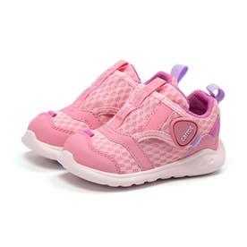 ベビー キッズ 女の子 男の子 子供 スニーカー 靴 運動靴  速乾 洗濯機で洗える ベルクロ マジックテープ (ピンク)