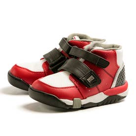 医療機関推奨 足首固定 偏平足 幅広 キッズ スニーカー 男の子 女の子 3E 通園 通学 新入学 子供靴 C2140 (レッド)