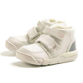 医療機関推奨 足首固定 偏平足 幅広 キッズ スニーカー 男の子 女の子 3E 通園 通学 新入学 子供靴 C2140 (ホワイト)