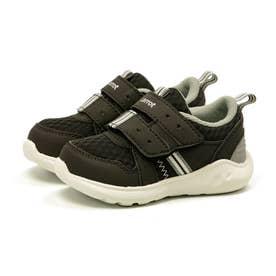 スニーカー 運動靴 キッズ ベルクロ マジックテープ ファスナー 速乾 抗菌 防臭 洗濯機で洗える CR C2285 (ブラック)