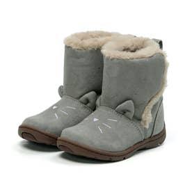 キッズ 女の子 子供 ムーンスター moonstar ブーツ ネコ もこもこブーツ かわいい CR C2300 (グレー)