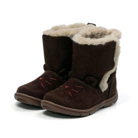 キッズ 女の子 子供 ムーンスター moonstar ブーツ ネコ もこもこブーツ かわいい CR C2300 (ブラウン)