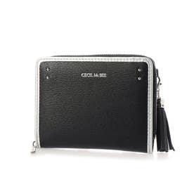 グレタ 二つ折りラウンド財布 (ブラック)