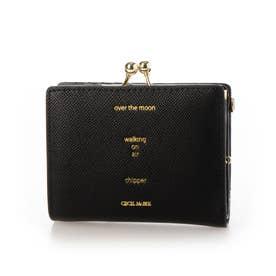 レタード ガマ口二つ折り財布 (ブラック)