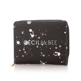 モード 二つ折りL字ファスナー財布 (ブラック)