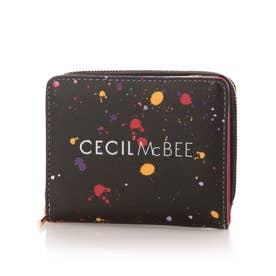 モード 二つ折りL字ファスナー財布 (ピンク)