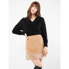 裾ファースカート キャメル