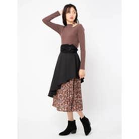 花柄プリーツドッキングスカート (ブラック)
