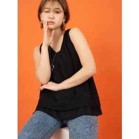 ネックレス付き裾フレアトップス (ブラック)