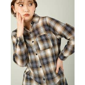 チェックロングシャツ (ブラック)
