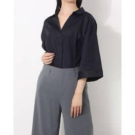 ワイドスリーブスキッパーシャツ(綿100%) (ブラック)