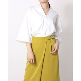 ワイドスリーブスキッパーシャツ(綿100%) (オフホワイト)