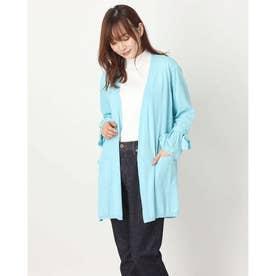 リボン袖ロングニットカーディガン(綿100%・8分袖) (ブルーケイ)