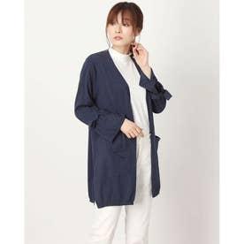 リボン袖ロングニットカーディガン(綿100%・8分袖) (ネイビーケイ)