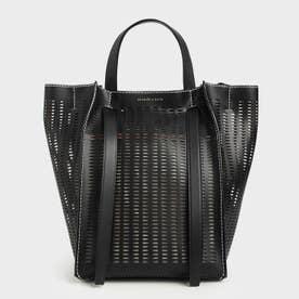 【再入荷】クロックエフェクト ラージトートバッグ / Croc-Effect Large Tote bag (Black)