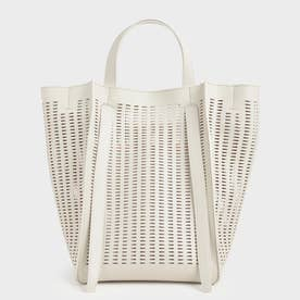 【再入荷】クロックエフェクト ラージトートバッグ / Croc-Effect Large Tote bag (Cream)