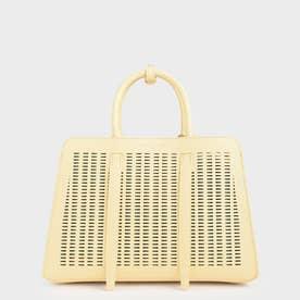 クロックエフェクト ラージハンドバッグ / Croc-Effect Large Handbag (Yellow)