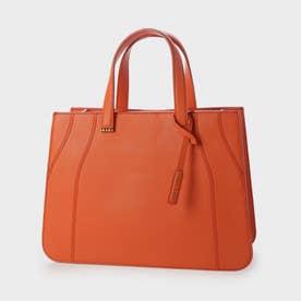 クロックエフェクト ダブルトップハンドルトートバッグ / Croc-Effect Double Top Handle Tote Bag (Orange)