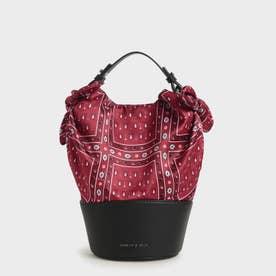 プリンテッドファブリック バケツバッグ / Printed Fabric Bucket Bag (Red)