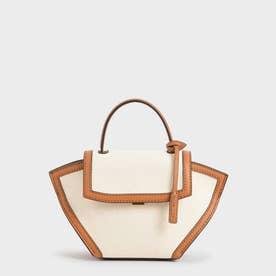 【再入荷】キャンバストラペーズ トップハンドルバッグ / Canvas Trapeze Top Handle Bag (Cognac)
