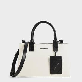 【再入荷】ダブルトップハンドル ストラクチャードバッグ / Double Top Handle Structured Bag (White)