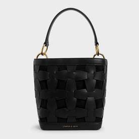 【再入荷】ウェーブディテール バケツバッグ / Weave Detail Bucket Bag (Black)