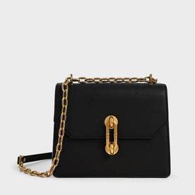 【再入荷】メタリックターンロック クロスボディバッグ / Metallic Turn-Lock Crossbody Bag (Black)