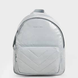 キルテッド ダブルジップバックパック / Quilted Double Zip Backpack (Light Blue)