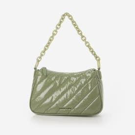 パネルド チェーンハンドルクロスボディバッグ / Panelled Chain Handle Crossbody Bag (SageGree
