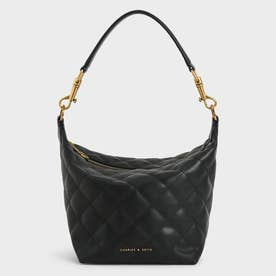 【2021 SUMMER 新作】キルテッド ホーボーバッグ / Quilted Hobo Bag (Black)