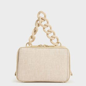 【2021 SUMMER 新作】リネンチェーンリンク ボクシーバッグ / Linen Chain Link Boxy Bag (Beige)