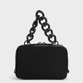【2021 SUMMER 新作】リネンチェーンリンク ボクシーバッグ / Linen Chain Link Boxy Bag (Black)