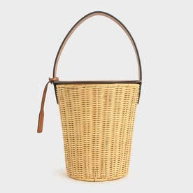 ラタンシリンドリカル トップハンドルバッグ / Rattan Cylindrical Top Handle Bag (Cognac)