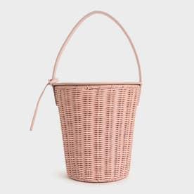 ラタンシリンドリカル トップハンドルバッグ / Rattan Cylindrical Top Handle Bag (Pink)