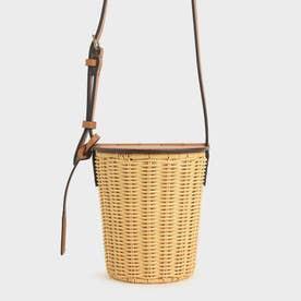 ラタンシリンドリカル クロスボディバッグ / Rattan Cylindrical Crossbody Bag (Cognac)