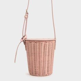 ラタンシリンドリカル クロスボディバッグ / Rattan Cylindrical Crossbody Bag (Pink)