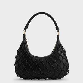 ネテッド レザーショルダーバッグ / Netted Leather Shoulder Bag (Black)