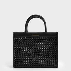 【2021 SUMMER】ウーブンダブルハンドル トートバッグ / Woven Double Handle Tote Bag (Black)