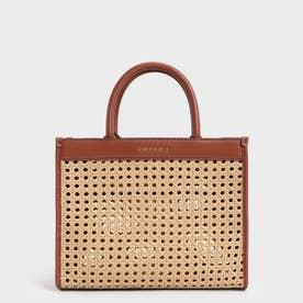 【2021 SUMMER】ウーブンダブルハンドル トートバッグ / Woven Double Handle Tote Bag (Brown)