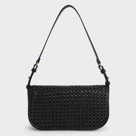 ウーブンフラップ ショルダーバッグ / Woven Flap Shoulder Bag (Black)