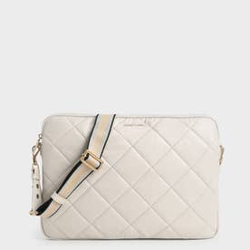 【2021 FALL 新作】キルテッド ラップトップバッグ / Quilted Laptop Bag (Ivory)