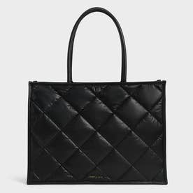 【2021 FALL 新作】ダブルハンドル キルテッドトートバッグ / Double Handle Quilted Tote Bag (Black)
